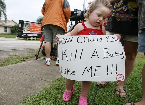 Anthony Protester, age 2, holding a sign on September 5, 2008 in front of George and Cindy Anthony home as Casey Anthony, mother of missing daughter Caylee Anthony