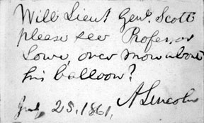 Lincoln's handwritten introduction of Professor Lowe