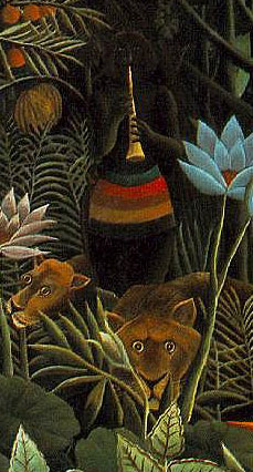 "Detail of a woman and lions from Rousseau's painting ""The Dream"""
