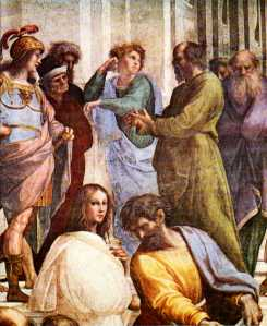 Socrates as imagined and painted by Raphael (he's the bearded one on right)