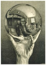 ESCHER famous etching of a man gazing into a crystal ball ruined by putting Losey's face into it