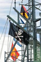 pirate flag om ship